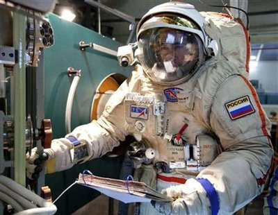 Russian cosmonaut Ivanishin takes part in a training session at the Star City space centre outside Moscow