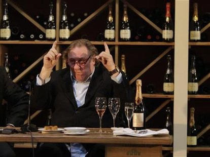 French actor Depardieu addresses media on his sparkling wine edition in Berlin
