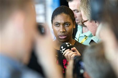 South African runner Semenya talks to journalists during a news conference in Stockholm