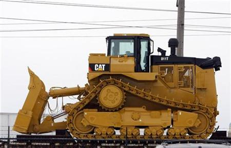 Bulldozer sits outside Caterpillar plant in Illinois
