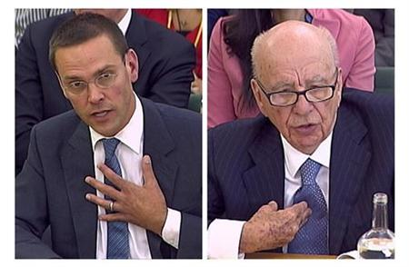 BSkyB Chairman James Murdoch and his father, News Corp Chief Executive and Chairman Rupert Murdoch, are questioned by parliamentary committe