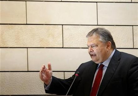 Greece's Finance Minister Venizelos delivers a speech during a presentation of an economic survey by the OECD in Athens