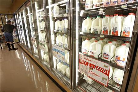 The milk section of a grocery store is pictured in Los Angeles