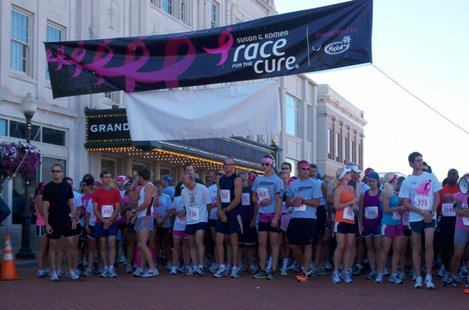 Runners line up for the start of the Susan G. Komen Race for the Cure in Wausau, WI
