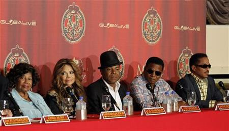 Katherine Jackson with her children La Toya, Tito, Jackie and Marlon attend a news conference to announce a tribute concert for the 40th ann