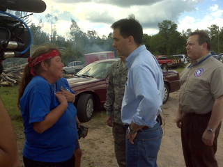 Governor Scott Walker surveys damage from Marinette County storms. (courtesy of FOX 11)