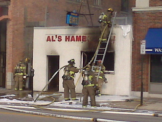 Al's Hamburger Shop in downtown Green Bay damaged by fire on Saturday August 20, 2011. (courtesy of FOX 11).