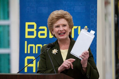 Michigan Senator Debbie Stabenow discusses her battery innovation act in the above photo.  Photo courtesy of: http://stabenow.senate.gov/