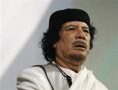 File photo of Libyan leader Muammar Gaddafi giving a speech in Rome