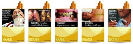 Combination picture of handout images of new cigarette packages released by US Food and Drug Administration