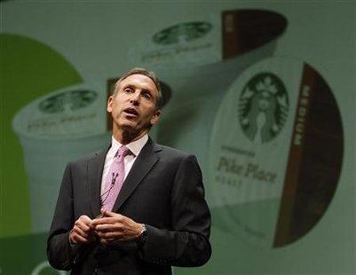 Starbucks CEO Howard Schultz speaks to shareholders about the company's partnership with the Keurig single-serve coffee brewing machine, at