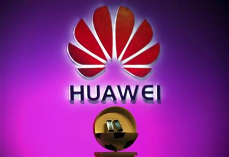 Two new cloud-based smartphones called 'Vision' made by Huawei Technologies Co Ltd can be seen during an official launch ceremony in Beijing