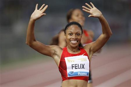Felix of the U.S. celebrates after winning the women's 400 metres event at the Golden Gala IAAF Diamond League at the Olympic stadium in Rom