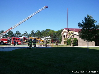 Firefighters extinguishing a blaze at the Howard Fire Department at 4165 Shawano Avenue on Wednesday, August 24, 2011. (courtesy of FOX 11)
