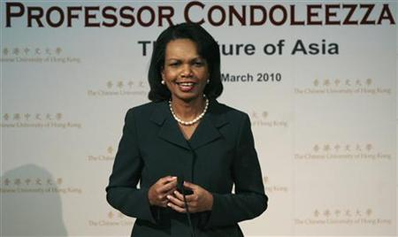 "Former Secretary of State Condoleezza Rice speaks during a lecture ""The Future of Asia"" at the Chinese University of Hong Kong"