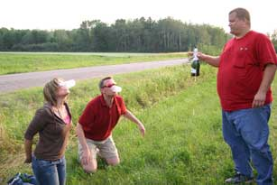 Lee Peek and Nikki Montgomery after their hot air balloon crash at the Wausau Balloon Rally 2008