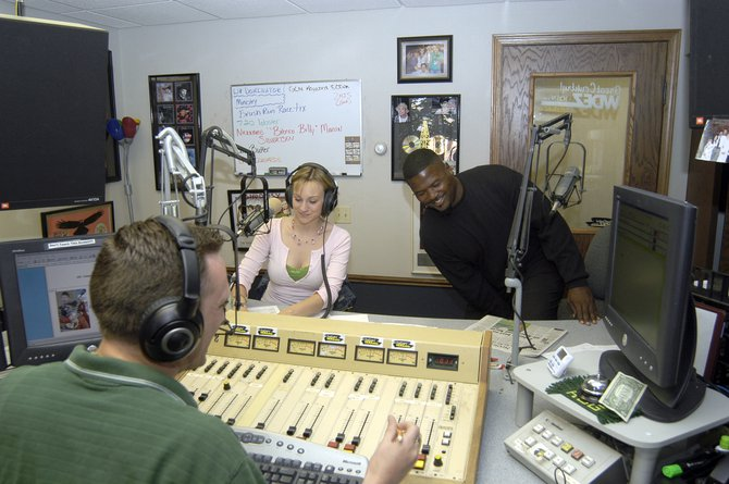 Lee Peek and Nikki Montgomery in studio with Packer Hall of Famer LeRoy Butler 2006
