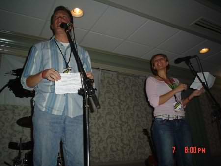Lee Peek and Nikki Montgomery on stage Little Big Town at Hereford and Hops 2005