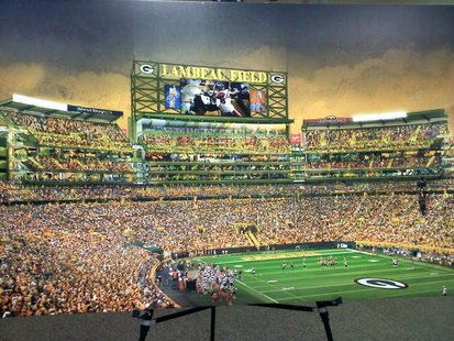 Rendering of the new seating area planned for the south end zone of Lambeau Field, released by the Green Bay Packers, Aug. 25, 2011.
