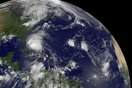 NASA satellite image of Hurricane Irene moving through the Bahamas