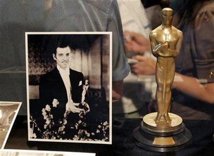 Clark Gable's Oscar at the opening of the Meet The Oscars exhibit in Hollywood