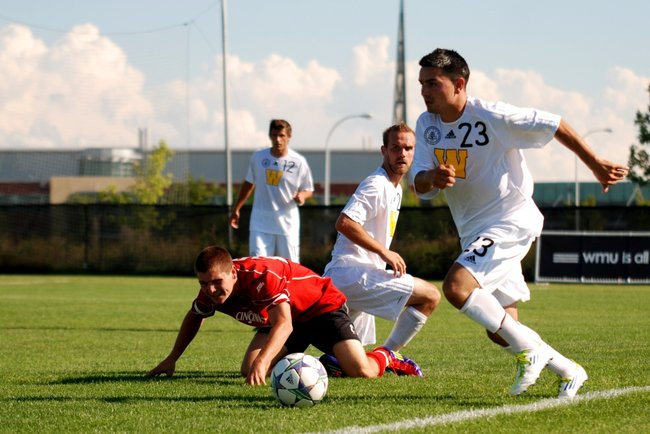 Western Michigan men's soccer opens the regular season hosting the Cincinnati Bearcats - 08/27/11. The Broncos fell 3-1. Photos by Sean Patrick Duross