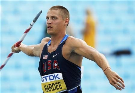 Trey Hardee of the U.S. competes in the javelin throw event of the men's decathlon at the IAAF World Championships in Daegu