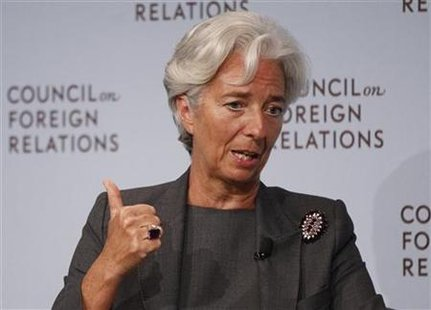 IMF Managing Director Lagarde speaks at the Council on Foreign Relations forum in New York