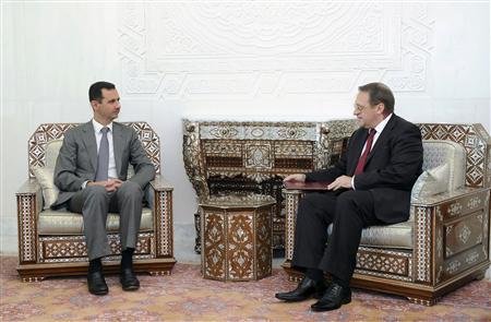 Syria's President Bashar al-Assad meets Russian deputy Foreign Minister Mikhail Bogdanov in Damascus