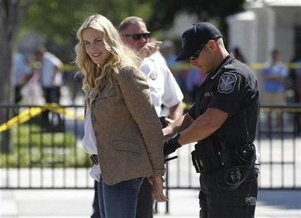 Actress Daryl Hannah is arrested during a protest in Washington