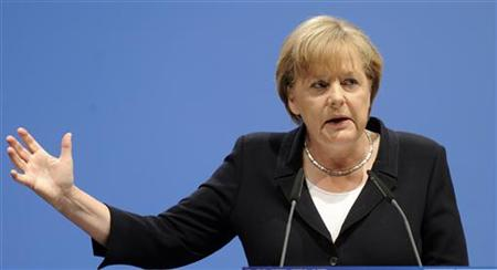 German Chancellor Merkel delivers her speech at party meeting of Lower Saxony's CDU in Hameln