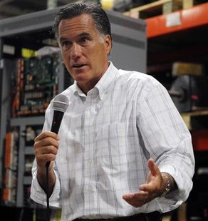 Republican presidential candidate Mitt Romney speaks to employees during a visit to Stanley Elevators in Merrimack