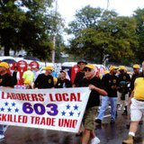 Marchers in a Labor Day parade.