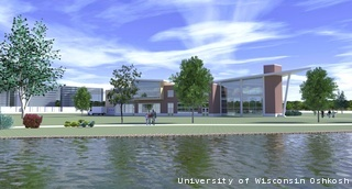 Rendering for the Alumni Welcome and Conference Center. (courtesy of FOX 11)