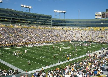 The seating bowl of Lambeau Field in Green Bay, Wisconsin