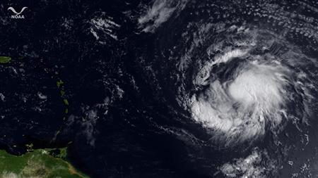Hurricane Katia is pictured east of the Leeward Islands in satellite image