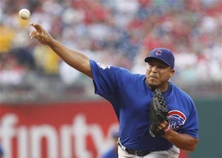 Cubs starting pitcher Zambrano delivers a pitch to the Phillies during the first inning of their National League MLB baseball game in Philad