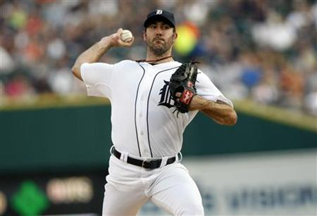 Detroit Tigers starting pitcher Verlander delivers to the Chicago White Sox during the first inning of their MLB game in Detroit