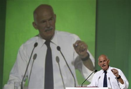 Greek PM Papandreou delivers a speech at the Faliron Sports Center in Athens