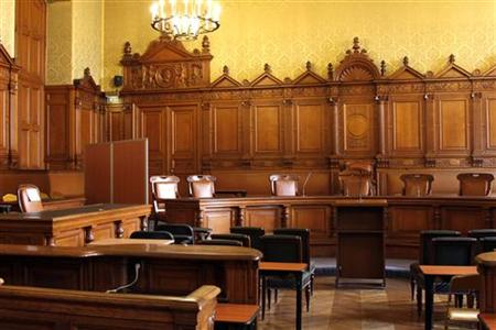 The courtroom which will be used for the trial of France's former President Jacques Chirac is seen in Paris