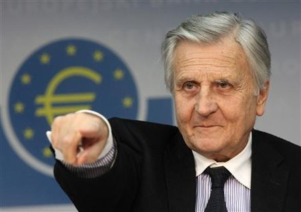 File photograph of President of the European Central Bank Jean-Claude Trichet at the ECB headquarters in Frankfurt