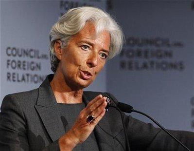 IMF Managing Director Christine Lagarde speaks at the Council on Foreign Relations forum in New York