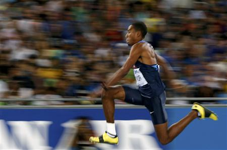 Taylor of the U.S. competes during the men's triple jump final at the IAAF World Athletics Championships in Daegu