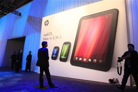 The poster showing all three new HP Palm devices is displayed following a media presentation at the Herbst Pavilion at the Fort Mason Center