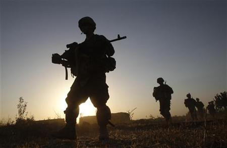 US army soldiers patrol in Panjwai district Kandahar province southern Afghanistan