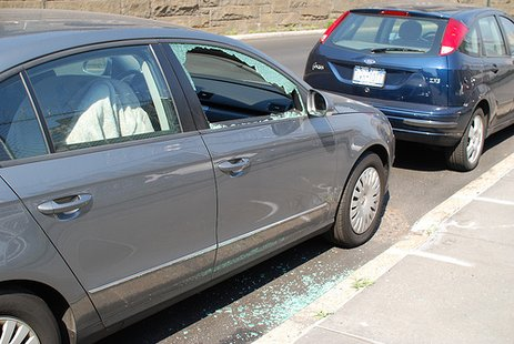 A vehicle with a broken window similar to the nature of the Springfield vandalism.