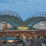 Miller Park in Milwaukee, WI at dusk.