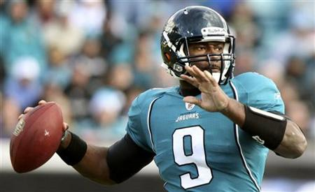 Jacksonville Jaguars quarterback David Garrard looks for an open receiver during the second half of their NFL football game against the Oakl