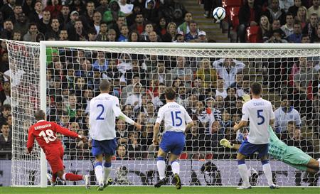 Wales's Earnshaw shoots over the crossbar during their Euro 2012 Group G qualifying soccer match against England at Wembley Stadium in Londo