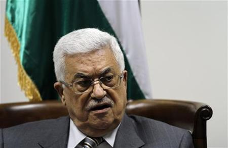 Palestinian President Mahmoud Abbas attends a meeting with a delegation of Palestinian doctors in Ramallah